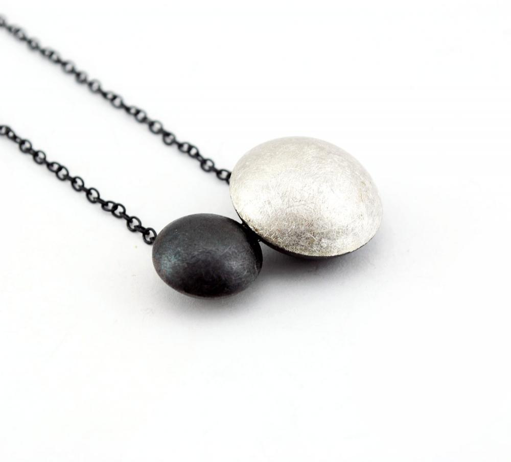 Oxidized - Texturized Sterling Silver Pendant. Black and White. Oval Link Chain. DOTS II Pendant. Handmade by Maria Goti Joyas