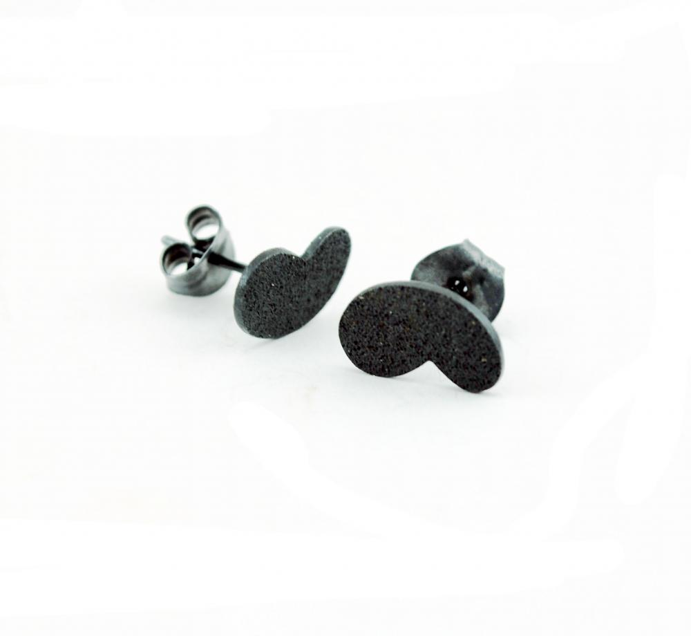 Tiny Oxidized-Texturized Sterling Silver Earrings. Roll Printed Texture. Black. Post. VARIACIONES 2 Earrings. Handmade by Maria Goti Joyas.